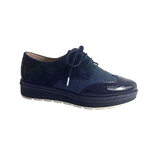 Hispanitas Atena, Zapatos de Cordones Brogue para Mujer Navy