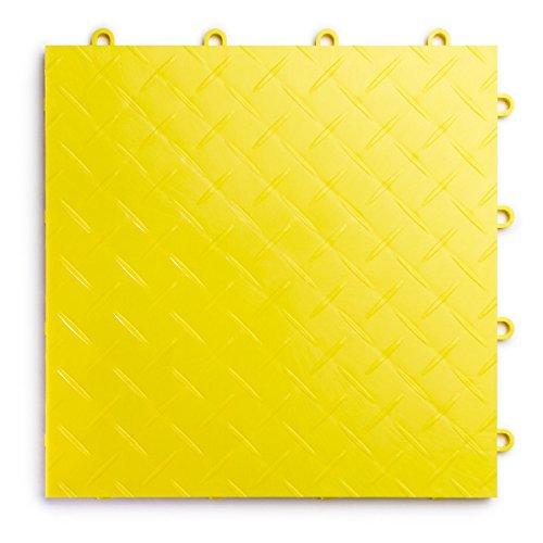 Durable Flooring (RaceDeck Diamond Plate Design, Durable Interlocking Modular Garage Flooring Tile (48 Pack), Yellow)