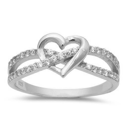 (Cubic Zirconia Infinity With Heart .925 Sterling Silver Ring Size 8)