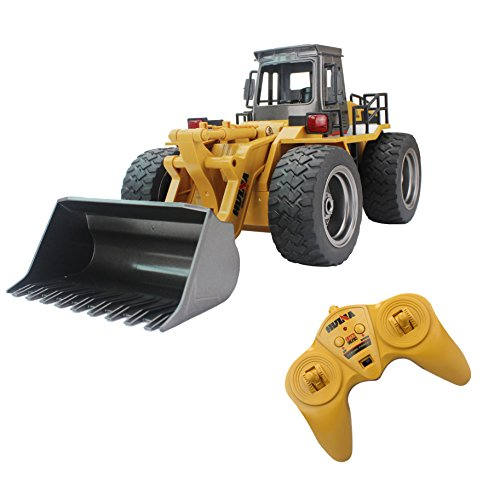 Fistone RC Truck Alloy Shovel Loader Tractor 2.4G Radio Control 4 Wheel Bulldozer 4WD Front Loader Construction Vehicle Electronic Toys Game Hobby Model with Light and Sounds (Bull Run Lights Christmas)