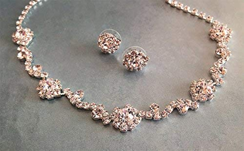 Silver Bridesmaid Crystal Backdrop Choker Earring Wedding Jewelry Set
