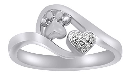 - White Natural Diamond Accent Paw Print Heart Ring in 14k White Gold Over Sterling Silver