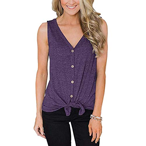 INIBUD Women's Tops Self Tie Button Down Cotton V Neck Cami Sleeveless T-Shirts Vest Camisole Tank Tops for Women Summer (Violet, ()