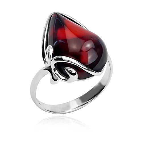 Ian and Valeri Co. Black Cherry Amber Sterling Silver Ring