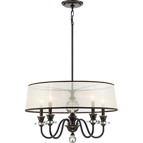 Quoizel CRY5005PN Ceremony Chandelier, 5-Light, 300 Watts, Palladian Bronze 16 H x 25 W