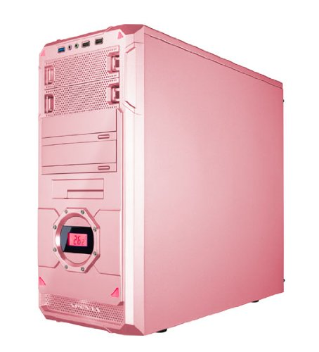 APEVIA X-Dreamer 4 ATX Mid Tower Gaming Case with 5 Fans, Large Red Tinted Side Window, LCD Temperature Display, USB2.0/USB3.0/HD Audio Ports, Hard Disk Hot Swap Bay for 3.5''/2.5'' Drive, up to 7 x Cooling Fan Space - Pink/Red