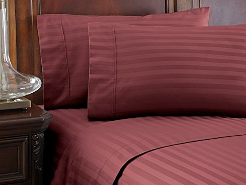 LuxuriousSheets Ultra Soft Microfiber - Sleeper Sofa Sheet Set Stripe, Burgundy, Queen Size (62