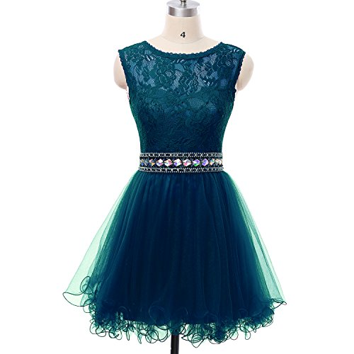 Homecoming Teal Dress (MEILISAY Meilishuo Women's Beading Homecoming Dress Short Prom Dress Lace for Juniors)