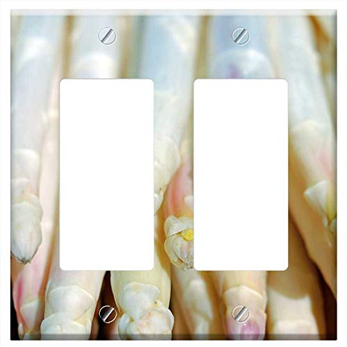 Switch Plate Double Rocker/GFCI - Asparagus White Shiny Frisch Asparagus Time Food
