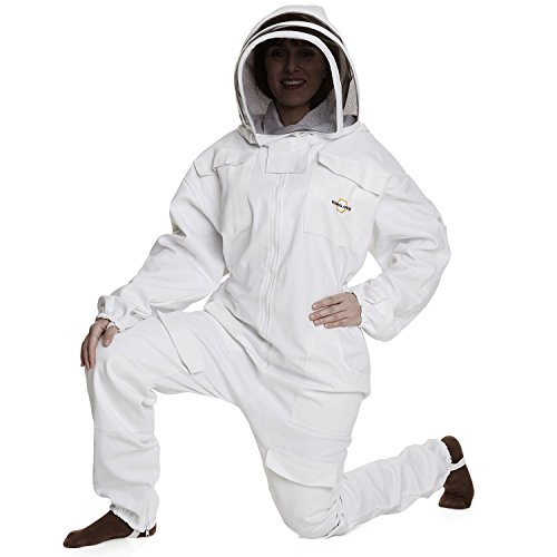 Natural Apiary - Apiarist Beekeeping Suit - White - (All-in-One) - Fencing Veil - Total Protection for Professional & Beginner Beekeepers - Medium