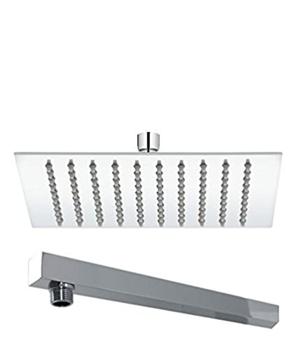 Pesca R/N Ultra Slim Stainless Steel Square Shower Head 6x6 inch, Steel Grade 304, (Series :- Super Heavy) and 18 inch Shower Arm Combo …