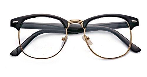 Outray para cristales estilo transparentes Montura de pasta gafas Gold y retro Black metal EanqA