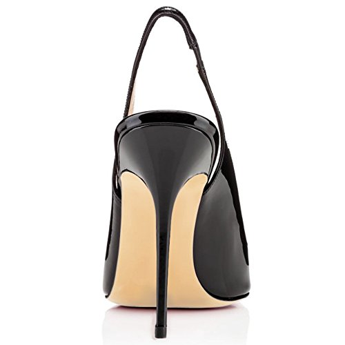 Tacco Scarpe Sandali Slingback Cinturino Donna Con Heels ELASHE 10CM Nero da Gattino Fibbiaco Caviglia Xx0FSH