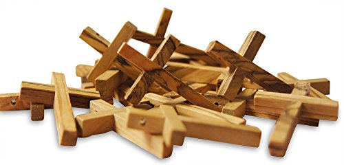 Novel Merk 20-Piece Wooden Cross Set Made in the Holy Land for Vacation Bible School Arts and Crafts or Church Carnival Fundraising Religious Jewelry -