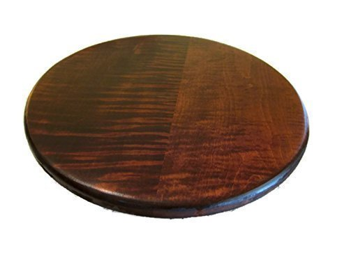 "Tiger Maple Wood Lazy Susan Turntable with Cherry Stain 14"" or 16"""