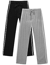 Men's Jersey Cotton Lounge Pajama Pants PJ Bottoms 2-Pack
