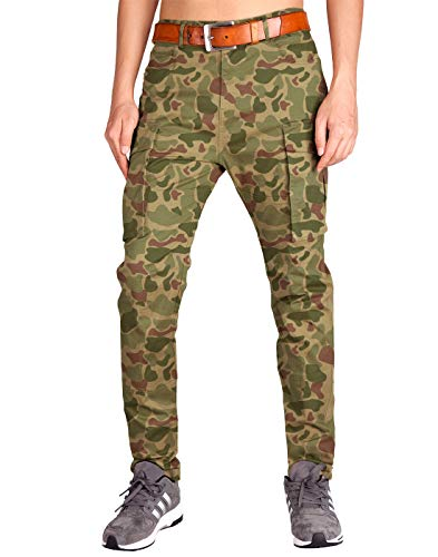 ITALY MORN Men's Survivor Casual Cargo Pant Relaxed Fit Military Outdoor (30, Camo) (Pocket Mens Camouflage 6 Pants)
