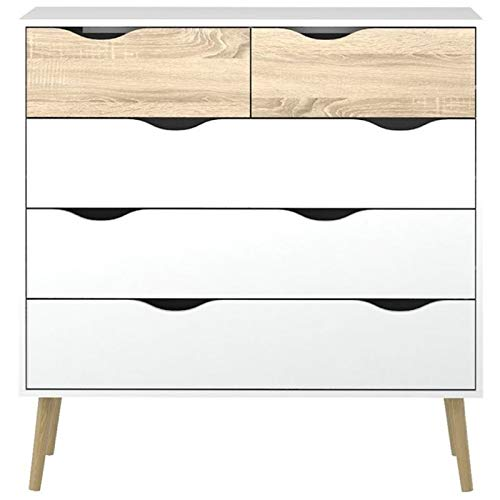 Pemberly Row Modern Scandinavian Design 5 Drawer Chest in White Oak with Solid Oak Wood Legs by Pemberly Row