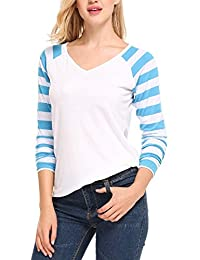 Meaneor Women's Knit Pullover Striped Long Raglan Sleeves V Neck Tee Shirt