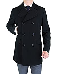 Men's Stretch Wool Blend Trim Fit Pea Coat
