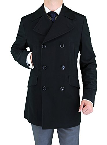 Luciano Natazzi Men's Stretch Wool Blend Trim Fit Pea Coat (44 US - 54 EU, Black) (Peacoat Stretch)