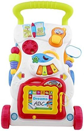 Baby Walker Trolley multifuncional para ni/ños peque/ños Caminante sentado a pie para el aprendizaje temprano de los ni/ños con tornillo ajustable Multicolor