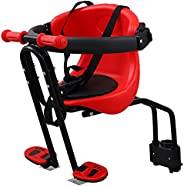 Unomor Bicycle Baby Kids Front Mount Seat- Safety Seat with Cushion Armrest Saddle Cushion Foot Pedals- Kids B
