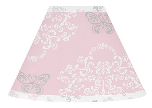 Pink, Gray and White Shabby Chic Alexa Damask Butterfly Baby, Childrens Lamp Shade