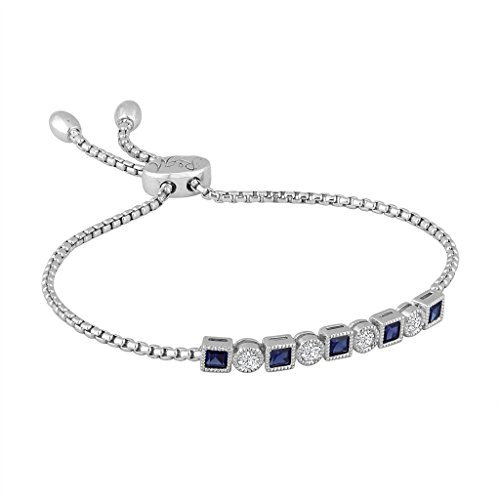 Rhythm & Muse Sterling Silver Created Blue & Created White Sapphire Bar Bracelet