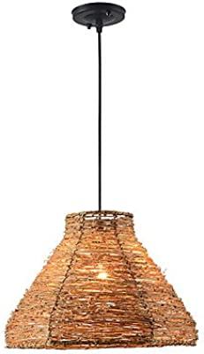 HAIXIANG Tropical Bamboo Chandelier DIY Wicker Rattan Lamp