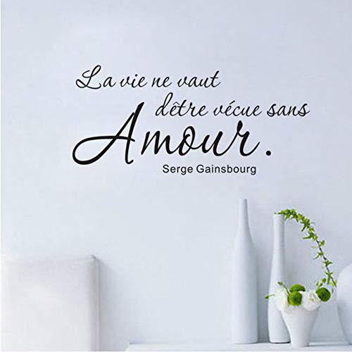 Meaosy Romantic French Sayings Wall Sticker Wall Decal Art Vinyl Removable English Text Quote Home Decor Living Room for $<!--$24.46-->