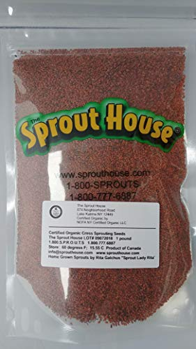 The Sprout House Certified Organic and Non-GMO Garden Cress Sprouting Seeds 1 Pound