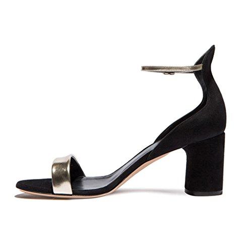 Color Salvaje De Negro Femeninas Sin Sandalias Zapatos Alto Tacón Costuras 8Z0nPq