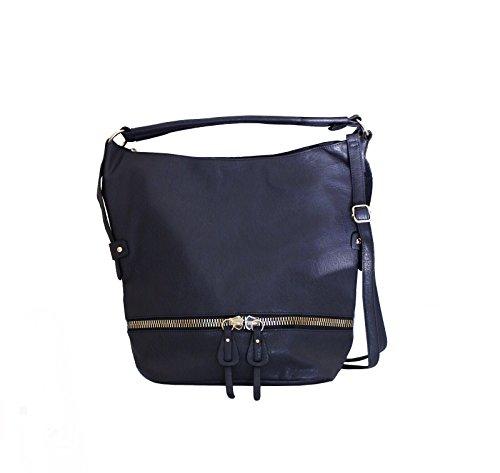 Damen Tasche (40x 36x 29cm) aus Leder Dunkelgrau insbesondere Schultertasche Bea Bag Stil mit viel capienza-new Collection