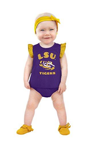 NCAA Lsu Tigers Girls Ruffle Dress, 0-3 Months, Purple