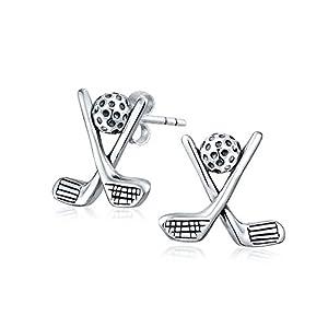 Bling Jewelry Sterling-Silber Golf Schläger und Ball Ohrstecker