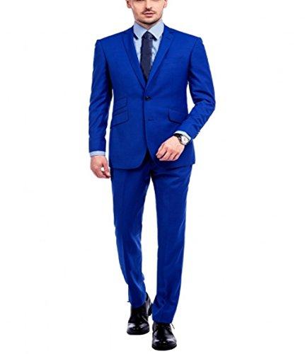 - 2 Piece Royal Blue Slim Fits Men Business Suits Groom Tuxedos Blazer