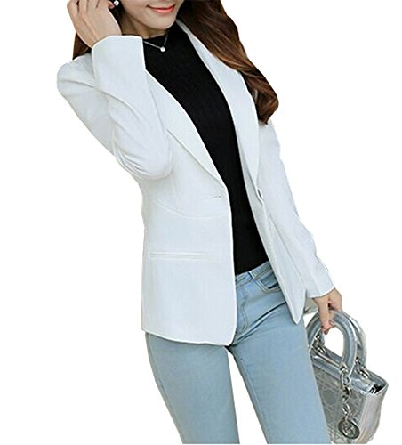 (Mikty Casual Work Office Blazer One Button Jacket for Women and Petites #133 White US XS 0)