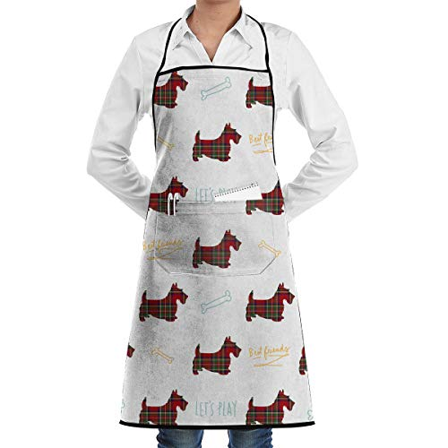 HLive Scotty Dog Aprons for Women Men Girls, Cooking Baking Garden Chef Apron with Pocket