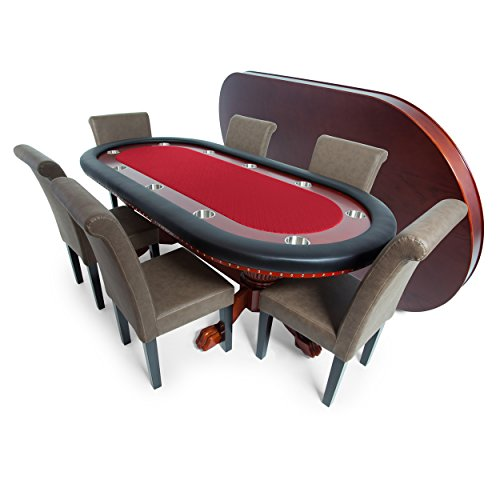 BBO Poker Rockwell Poker Table for 10 Players with Red Speed Cloth Playing Surface, 94 x 44-Inch Oval, Includes Matching Dining Top with 6 Lounge ()