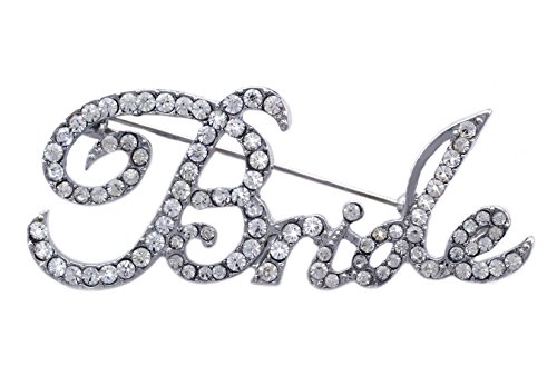 cocojewelry Bride Word Letter Brooch Pin Bachelorette Bridal Shower Wedding Gift (Cursive) ()