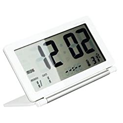 GenLed Travel Alarm Clock Comsmart Mini Slient 12/24 Hour Desktop Clock with Temperature Date Week LCD Digital Screen & Leather Cover (White)