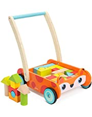 cossy Wooden Baby Learning Walker Toddler Toys for 1 Year Old and up, Fox Blocks and Roll Cart Push Toy (35 pcs) Updated Version