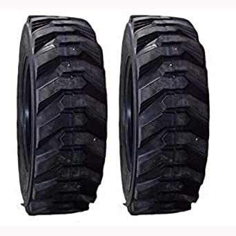 (2) 10 Ply Skid Steer Tires 10-16.5 HD with Rim Guard Fits Bobcat Deere Gehl JCB