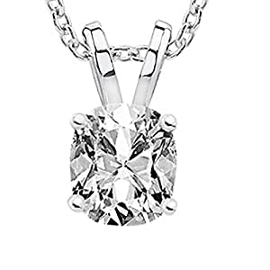 0.75 3/4 Carat Cushion Diamond Solitaire Pendant Necklace F-G Color SI1-SI2 Clarity w/ 18″ 14K Gold Chain