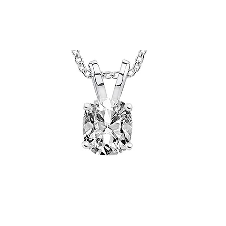 "2.01 Carat GIA Certified Cushion Diamond Solitaire Pendant Necklace F Color VS2 Clarity w/ 18"" 14K Gold Chain"