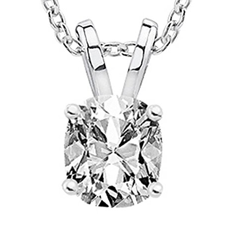 "1 Carat Platinum Cushion Diamond Solitaire Pendant Necklace K Color I2 w/ 16"" 14K White Gold Chain"