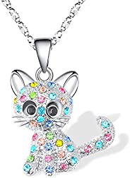 Lanqueen Kitty Cat Pendant Necklace Jewelry for Women Girls Cat Lover Gifts Daughter Loved Necklace 18+2.4 inc
