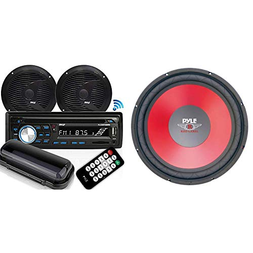 (Marine Stereo Receiver Speaker Kit - In-Dash LCD Digital Console Built-in Bluetooth with Pyle PLW15RD 15-Inch Red Cone High Performance Woofer)