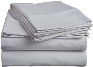 Pearl ropa de cama 300TC juego de sábanas de algodón egipcio con acabado italiano sólido (solo largo, color gris plateado)